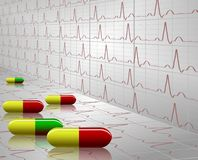 Tablets and ECG. A number of colorful tablets with an ECG graph in the background Stock Images