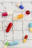 Tablets on an ecg Stock Image