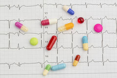 Tablets on an ecg Royalty Free Stock Photo