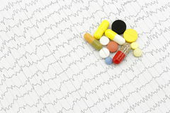 Tablets on the electrocardiogram. Royalty Free Stock Photography