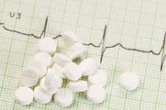 Tablets on electrocardiogram Stock Photo