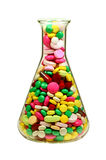 Tablets in the Erlenmeyer Flask. Royalty Free Stock Photo