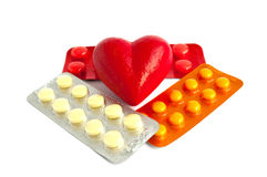 Tablets and heart. Tablets on a white background Royalty Free Stock Image