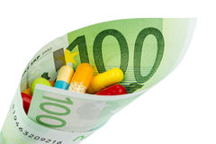 Tablets and hundred euro bill Royalty Free Stock Photography