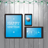 Tablets illustration for happy new year 2016. Design of a greeting card with message on tablets for happy new year Royalty Free Stock Image
