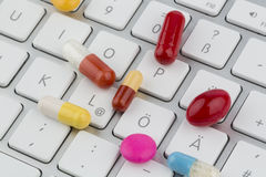 Tablets on keyboard Royalty Free Stock Photography
