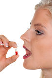 tablets kvinnan Royaltyfria Bilder