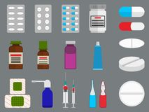 Tablets and medicine flat icons set Royalty Free Stock Photo