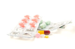 Tablets. Mix heap drugs pills capsules therapy doctor flu antibio stock photos