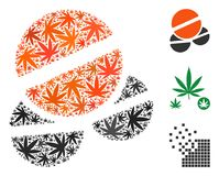Tablets Mosaic of Cannabis. Tablets mosaic of marijuana leaves in different sizes and color shades. Vector flat marijuana leaves are grouped into tablets Stock Photo