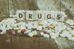 Tablets and narcotic addiction. Photo tablets and narcotic addiction Royalty Free Stock Photo