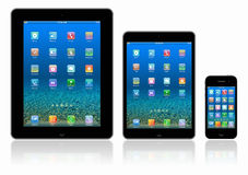 Tablets pc and mobile telephone on white background Royalty Free Stock Photos
