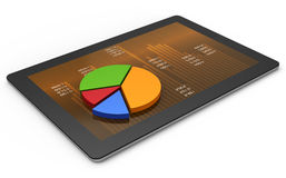 Tablets with a pie graph Stock Photography