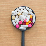 Tablets pills capsule heap mix therapy drugs. Royalty Free Stock Photo