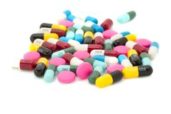 Tablets pills capsule medicines. Royalty Free Stock Image