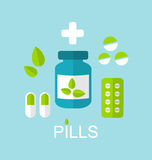 Tablets (Pills, Capsules, Drugs) and Leaves Royalty Free Stock Photos