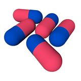Tablets,pills. The tablets, pills. Illustration. 3d render. background. , red blue Stock Illustration