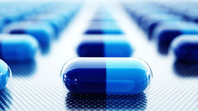 Tablets and pills packed. Medical concept, background. 3d rendering. Stock Photo