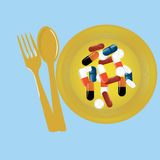 Tablets pills on the plate Royalty Free Stock Photos