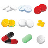 Tablets and pills vector set isolated on white bac Royalty Free Stock Photos