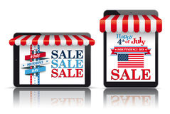 2 Tablets Red Awning Independence Day. Set of realistic 2 tablets with awnings for the Independence Day Sale Royalty Free Stock Images