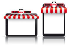 2 Tablets Red White Awning Black Friday. Set of realistic 2 tablets with awnings for Black Friday Sale Royalty Free Stock Photos