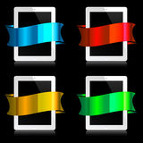 Tablets with ribbons Royalty Free Stock Photography