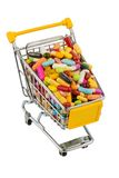 Tablets with shopping cart. Photo icon for the purchase of drugs on the internet Royalty Free Stock Photography