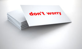 Tablets with sign dont worry. Cardboard tablets with sign dont worry on a white background royalty free illustration