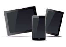 Tablets and smart phone and black screens. Vector Illustration. Stock Photo