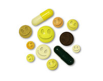 Tablets with smiles on a white background Royalty Free Stock Photo
