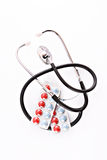 Tablets and stethoscope isolated Royalty Free Stock Photo
