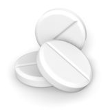 Tablets. Three effervescent tablets on white background with clipping path Stock Photo