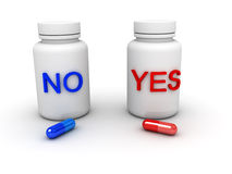 Tablets yes or not. (image can be used for printing or web Royalty Free Stock Images