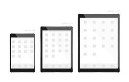 Tabletschwarzdesign-Anzeigengröße 7 9, 9 7 und 12 9 Zoll Stock Abbildung