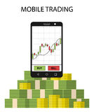 Tabletsmartphone met voorraadgrafiek en pak van geld Royalty-vrije Stock Foto