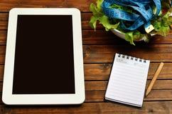 Tablette avec de la salade végétale photographie stock libre de droits
