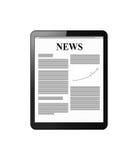 Tablette avec des actualités sur l'affichage Photos libres de droits