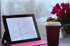 Tablette avec des graphiques, café par la fenêtre Images libres de droits