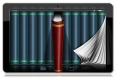 Tablette avec des pages et des livres Photo stock