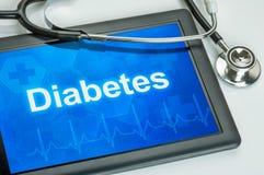 Tablette avec du diabète de diagnostic Photos libres de droits