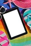 Tablette avec l'écran blanc Photo stock