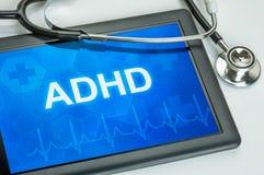 Tablette avec l'adhd de diagnostic images libres de droits