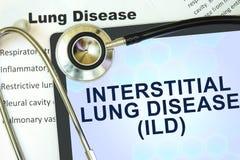 Tablette avec l'affection pulmonaire interstitielle de mot (ILD) Photo libre de droits