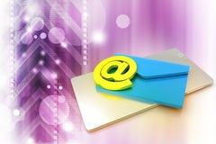 Tablette avec l'email Photos stock