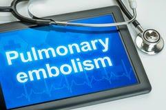 Tablette avec l'embolie pulmonaire des textes photo stock
