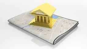 Tablette avec la carte sur l'écran Photographie stock libre de droits
