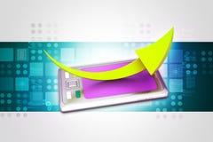 Tablette avec la flèche Photos stock