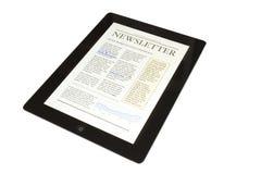 Tablette avec le bulletin d'affaires photo libre de droits