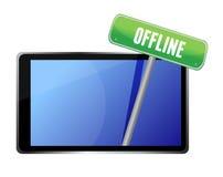 Tablette avec le message hors ligne Photographie stock libre de droits
